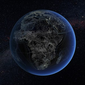 ***EXCLUSIVE***  SPACE, UNDATED: Human technology presence over Africa at night. Global map showing major road and rail networks over land, along with transmission line and underwater cable data superimposed over satellite images of cities illuminated at night. This image illustrates modern human impact on the planet.  A SCIENTIST has created an incredible global snapshot depicting how power lines, roads and even air traffic corridors have come to dominate the surface of Mother Earth. Earlier this week, the United Nations Populations Fund revealed that by October 31st, the global population will stand at seven billion - an extra on billion compared to 1999. To show some of the impacts of this vast human upheaval on the planet, anthropologist and science communicator Felix Pharand-Deschenes has created a series of stunning visualisations based on real data. They show air traffic routes; the underwater cables that carry the internet; road and rail networks; electricity transmission lines – all superimposed over cities at night. It's a spider's web of global human activity, all connected to the cities where the majority of people live and work. For the first time in history, more people live in cities than in the countryside. These images give a visual idea of how we have become the first species we know of to actually transform a planet. For example, we've tarmaced, concreted or paved over 3% of the world's land surface. That's 4.5 million square kilometres, an area greater than India. And it's growing all the time.  PHOTOGRAPH BY Felix Pharand-Deschenes / SPL/ Barcroft Media  UK Office, London. T +44 845 370 2233 W www.barcroftmedia.com  USA Office, New York City. T +1 212 564 8159 W www.barcroftusa.com  Indian Office, Delhi. T +91 11 4101 1726 W www.barcroftindia.com  Australasian & Pacific Rim Office, Melbourne. E info@barcroftpacific.com T +613 9510 3188 or +613 9510 0688 W www.barcroftpacific.com